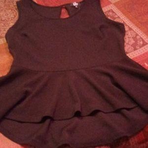 Black bottom ruffle no sleeves blouse